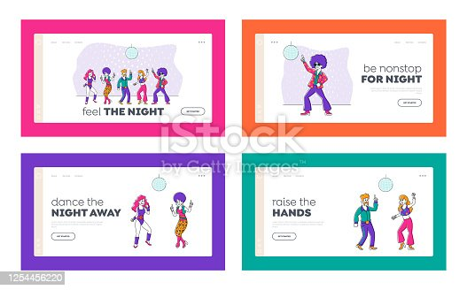 Characters Dance at Retro Disco Party in Night Club Landing Page Template Set. Young People Group in 1970s 1980s Fashion Style of Clothes and Hairstyle Dancing Disco Dance. Linear Vector Illustration