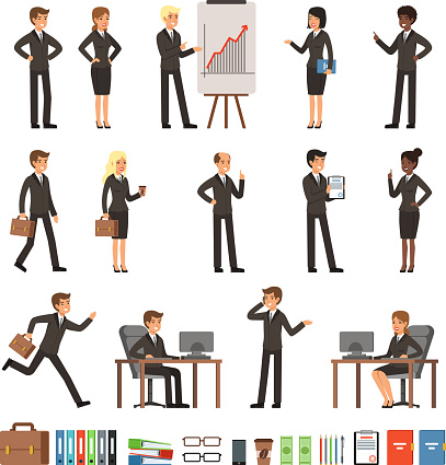 Characters design set of business people man and woman, office workers or directors, professional teams. Mascots in different action poses