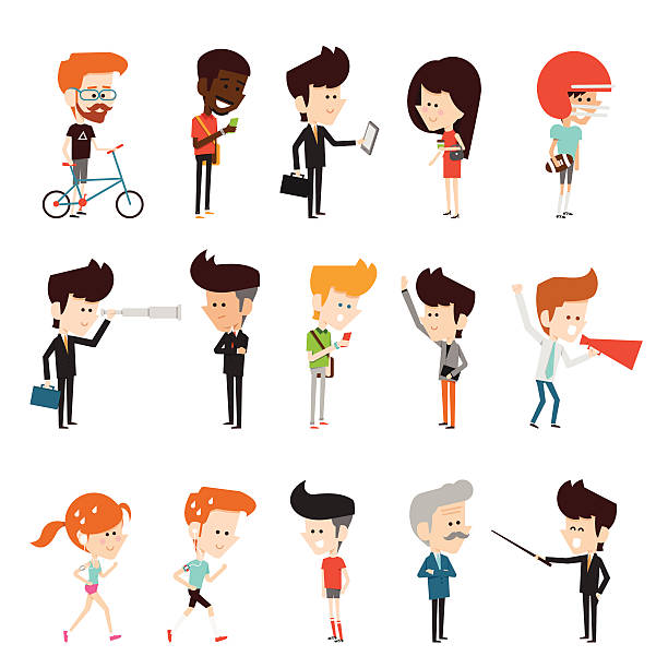 characters design - business casual fashion stock illustrations