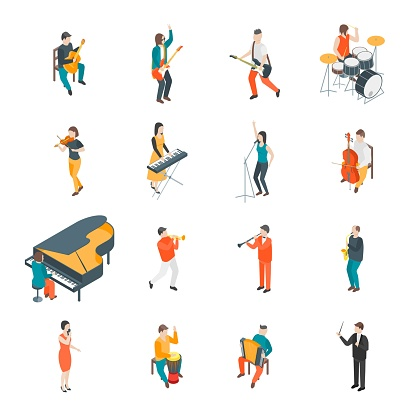 Characters Different Musicians People Set 3d Isometric View. Vector