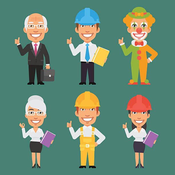 characters different professions part 12 - old man showing thumbs up cartoons stock illustrations, clip art, cartoons, & icons