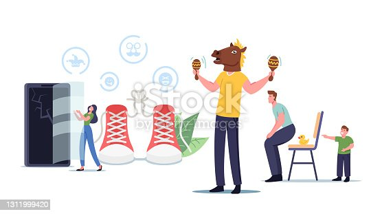 istock Characters Do Prank Tricks with Friends. People Fooling, Man Wear Horse Head Play Maracas, Boy Put Rubber Duck on Chair 1311999420