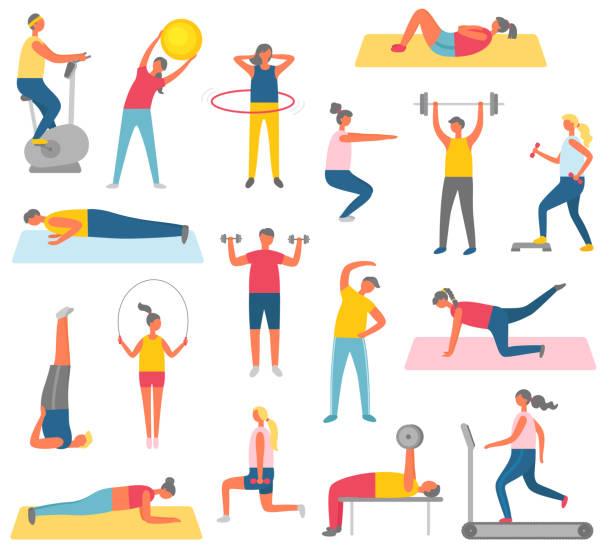 ilustrações de stock, clip art, desenhos animados e ícones de characters doing fitness with sport equipment - fitness