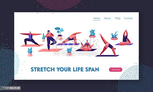 Characters Doing Yoga Practice in Different Poses. Sports Activity, Exercise, Fitness, Stretching, Healthy Lifestyle, Leisure. Website Landing Page, Web Page. Cartoon Flat Vector Illustration, Banner