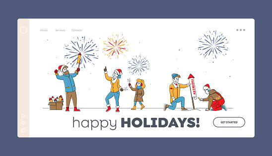 Characters Enjoy Fireworks Show Landing Page Template. Happy Family Hold Burning Sparklers, Men Launch Festive Firework
