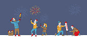 Characters Enjoying Fireworks Show. Happy Family Mother, Father and Child Hold Burning Sparklers, Men Launch Festive Firework Petard. Christmas or New Year Holidays. Linear People Vector Illustration