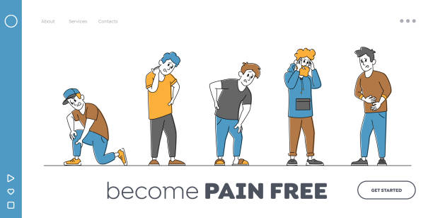 Characters Feeling Pain Landing Page Template. People Suffering Ache in Different Body Parts Chest, Neck, Leg, Back, Arm Characters Feeling Strong Pain Landing Page Template. People Suffering Ache in Different Body Parts Chest, Neck, Leg, Back, Arm. Health Problem, Disease Symptoms, Sickness. Linear Vector Illustration human limb stock illustrations