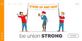 istock Characters Fighting for Rights Landing Page Template. Citizen Protesting Against War or Election with Placards on Strike 1266654402