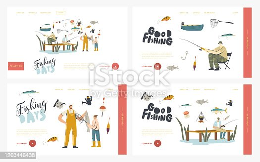 Characters Fishing Hobby Landing Page Template Set. Fishermen Having Good Catch. Father with Daughter Catching Fish