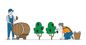 Characters Gathering Grapes on Vineyard Plantation. Viticulture and Winemaking Industry, Farmer Gather Crops, Winemaker Holding Wine Grapes, Harvesting on Vineyard. Linear People Vector Illustration