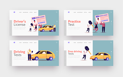 Characters Getting Driver License Landing Page Template Set. Tiny Men and Women Studying in School with Instructor, Learning Drive Car, Passing Exams Get Permission. Cartoon People Vector Illustration