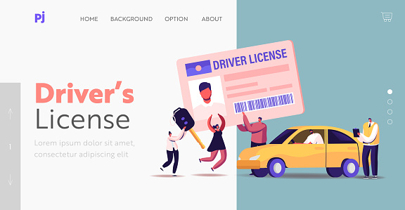 Characters Getting Driver License Landing Page Template. Tiny People Study in School with Instructor, Learning Drive Car