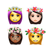 Characters girls avatars with flower on head in cartoon style, emoji icons, animoji, summer concept, emoji with wreath flowers on head, vector illustration.