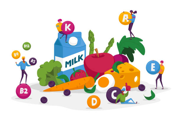 Characters Healthy Lifestyle, Organic Food Choice, Vitamins in Products. Fruits, Vegetables, Cheese, Milk and Eggs as Source of Energy and Health. Vegetarian Diet. Cartoon People Vector Illustration Characters Healthy Lifestyle, Organic Food Choice, Vitamins in Products. Fruits, Vegetables, Cheese, Milk and Eggs as Source of Energy and Health. Vegetarian Diet. Cartoon People Vector Illustration crucifers stock illustrations