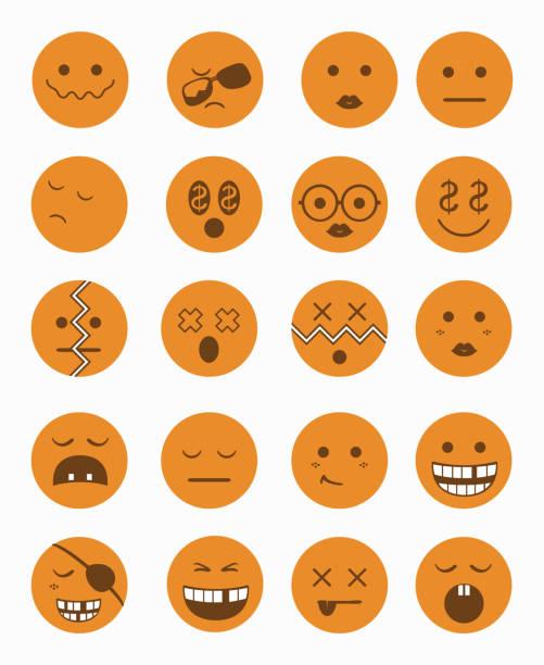 bildbanksillustrationer, clip art samt tecknat material och ikoner med characters icons set 2 orange - balpress