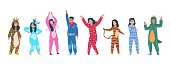 Characters in pajamas. Cartoon men and women in different pajamas, superheroes and animals costumes. Vector illustration pajama party, person in costume set rabbit giraffe superhero unicorn tiger
