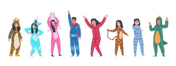 Characters in pajamas. Cartoon men and women in different pajamas, superheroes and animals costumes. Vector pajama party set Characters in pajamas. Cartoon men and women in different pajamas, superheroes and animals costumes. Vector illustration pajama party, person in costume set rabbit giraffe superhero unicorn tiger infant bodysuit stock illustrations
