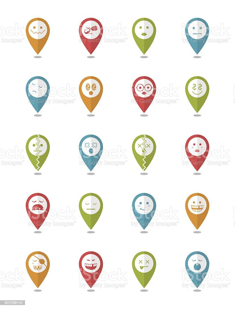 20 characters in pointers icons set vector art illustration