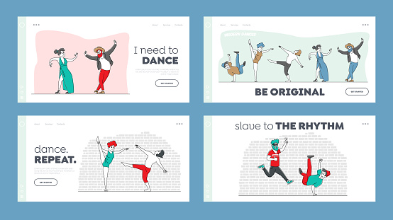 Characters in Stylish Costumes Dance Modern Dances Landing Page Template Set. Group of People at Disco Party or Training Class. Happy Men or Women Clubbing, Performing. Linear Vector Illustration