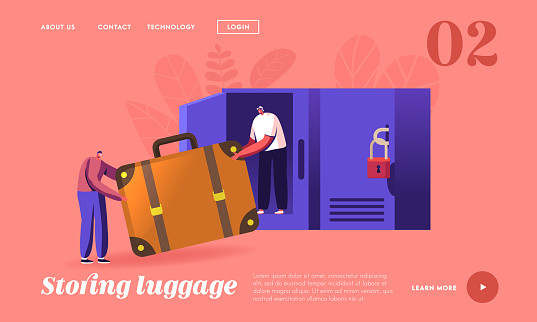 Characters Keeping Baggage Landing Page Template. Tiny Travelers with Huge Bag in Luggage Storage Put Bag in Locker