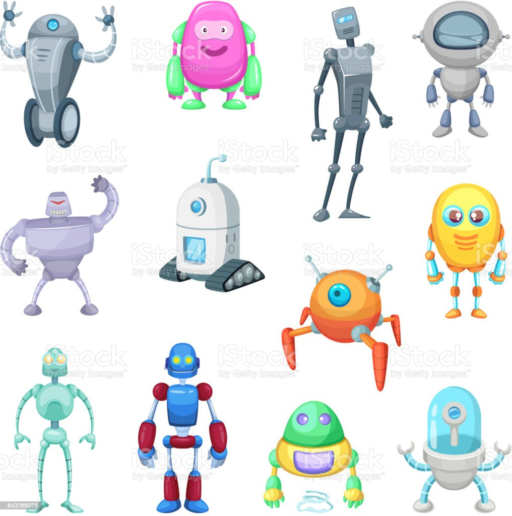 Characters of funny robots in cartoon style. Vector mascot set of androids and astronauts