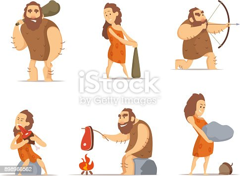 istock Characters of male and female. Primitive cave people from prehistoric period 898966562