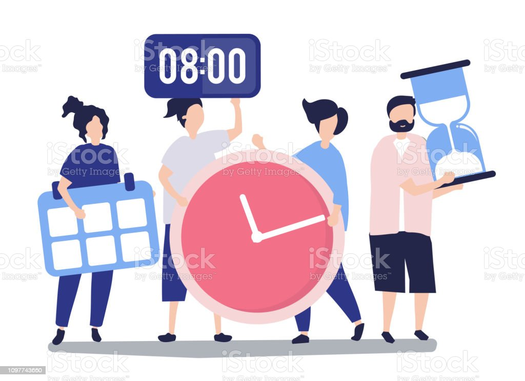 Characters of people holding time management concept illustration - Векторная графика Аватарка роялти-фри