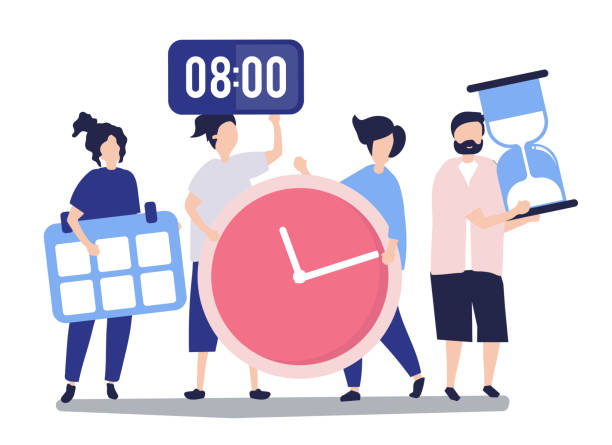 Characters of people holding time management concept illustration Characters of people holding time management concept illustration agenda stock illustrations
