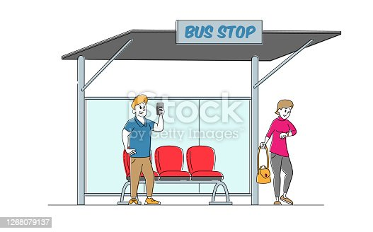 Dwellers Characters on Bus Station. Man Stand near Bench Reading Messages on Smartphone, Woman Watching on Watches, Citizen Waiting Public City Transport, Commuter. Linear People Vector Illustration
