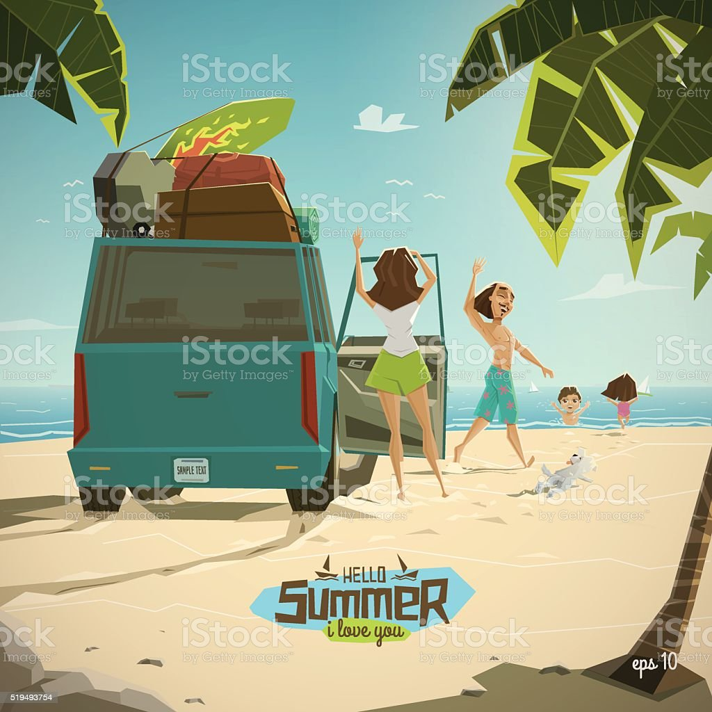 Characters on the beach vector art illustration