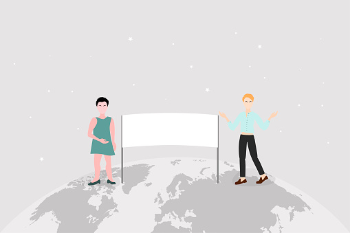 characters on the world map and globe with an empty placard,