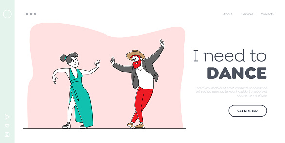 Characters Perform Modern Dance Landing Page Template. People Dancing on Disco Party or Scene. Fashioned Man and Woman Move Body to Music Rhythm, Happy Leisure or Sparetime. Linear Vector Illustration
