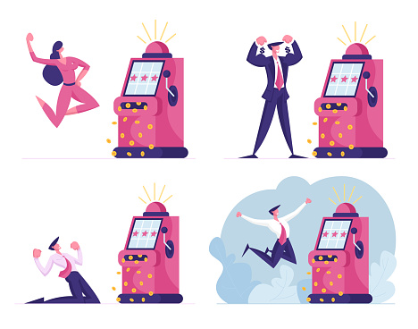 Characters Playing Gambling Games in Casino Win Jackpot Money Prize on Slot Machine. Gambler Addiction, One-armed Bandit Player. Vegas Nightlife Business Industry. Cartoon People Vector Illustration