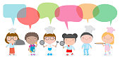 Characters set of children cooks. People boy and girl chef with speech bubble, talking with speech balloon vector illustration isolated on white background