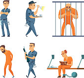 Characters set of guards and prisoners