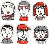 Vector set of cartoon human faces.