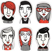 Vector set of cartoon human faces.