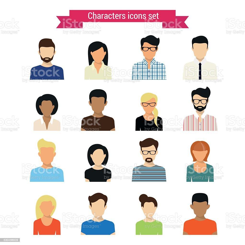 Characters set vector art illustration