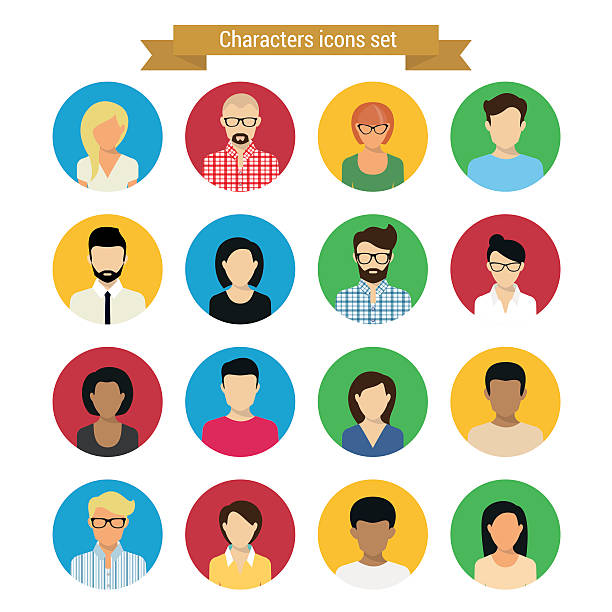 zeichen-set - kindergesichtsfarben stock-grafiken, -clipart, -cartoons und -symbole