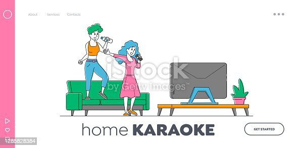 istock Characters Sparetime, Hobby or Party Landing Page Template. Cheerful Girls Couple Sing Song in Karaoke with Microphones 1285828384