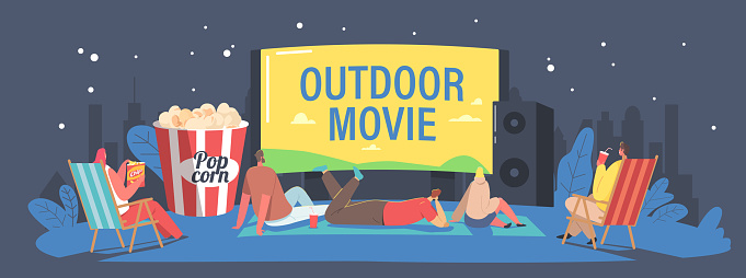 Characters Spend Night with Friends at Outdoor Movie Theater. People Watching Film on Big Screen with Sound System.