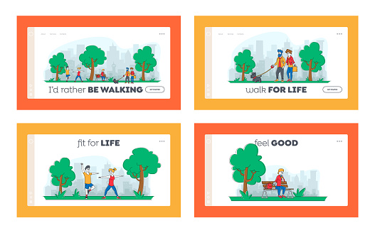Characters Spend Time in Park Landing Page Template Set. People Walking with Pets, City Dwellers Outdoors Activity, Eating Ice Cream, Exercising. Summertime Outdoor Sport. Linear Vector Illustration