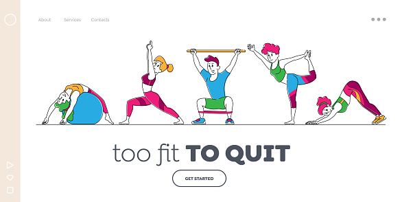 Characters Stretching at Home or Gym Landing Page Template. People Yoga and Sport Activity, Sports Exercises, Fitness