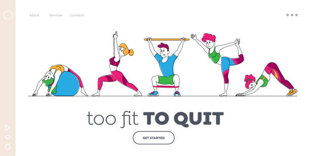 Characters Stretching at Home or Gym Landing Page Template. People Yoga and Sport Activity, Sports Exercises, Fitness Characters Stretching at Home or Gym Landing Page Template. People Yoga and Sport Activity, Sports Exercises, Fitness Workout Poses with Equipment, Healthy Lifestyle. Linear Vector Illustration active lifestyle stock illustrations