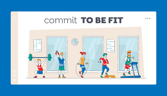 Characters Training with Professional Equipment in Gym Landing Page Template. People Doing Fitness Workout with Weight, Running on Treadmill. Sport Activity, Healthy Life. Linear Vector Illustration