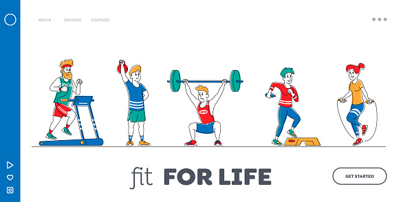 Characters Training with Sports Equipment in Gym Landing Page Template Set. People Doing Fitness Workout with Weight, Running on Treadmill. Sport Activity, Healthy Life. Linear Vector Illustration