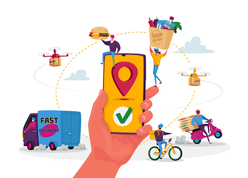 Characters Use Online Food Delivery Service. Hand with Smartphone and App for Order and Delivering Parcels to Consumers