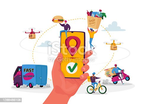 istock Characters Use Online Food Delivery Service. Hand with Smartphone and App for Order and Delivering Parcels to Consumers 1288486106