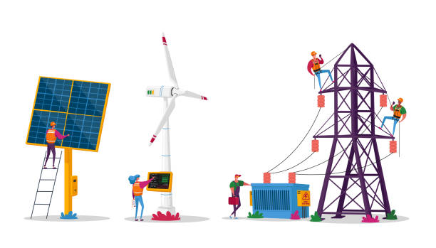 ilustrações de stock, clip art, desenhos animados e ícones de characters use sustainable energy, environmental and ecology protection. new technologies integration into human life. solar panels and windmills for green energy. cartoon people vector illustration - solar panel