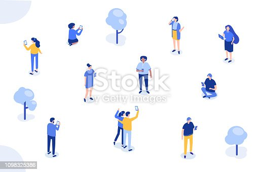 Different characters with gadgets. Can use for web banner, infographics, hero images. Flat isometric vector illustration isolated on white background.